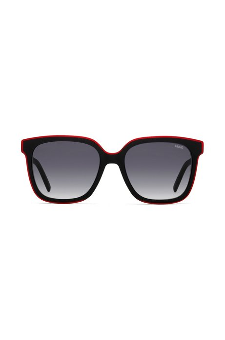 Acetate sunglasses with a layered front in red, Assorted-Pre-Pack