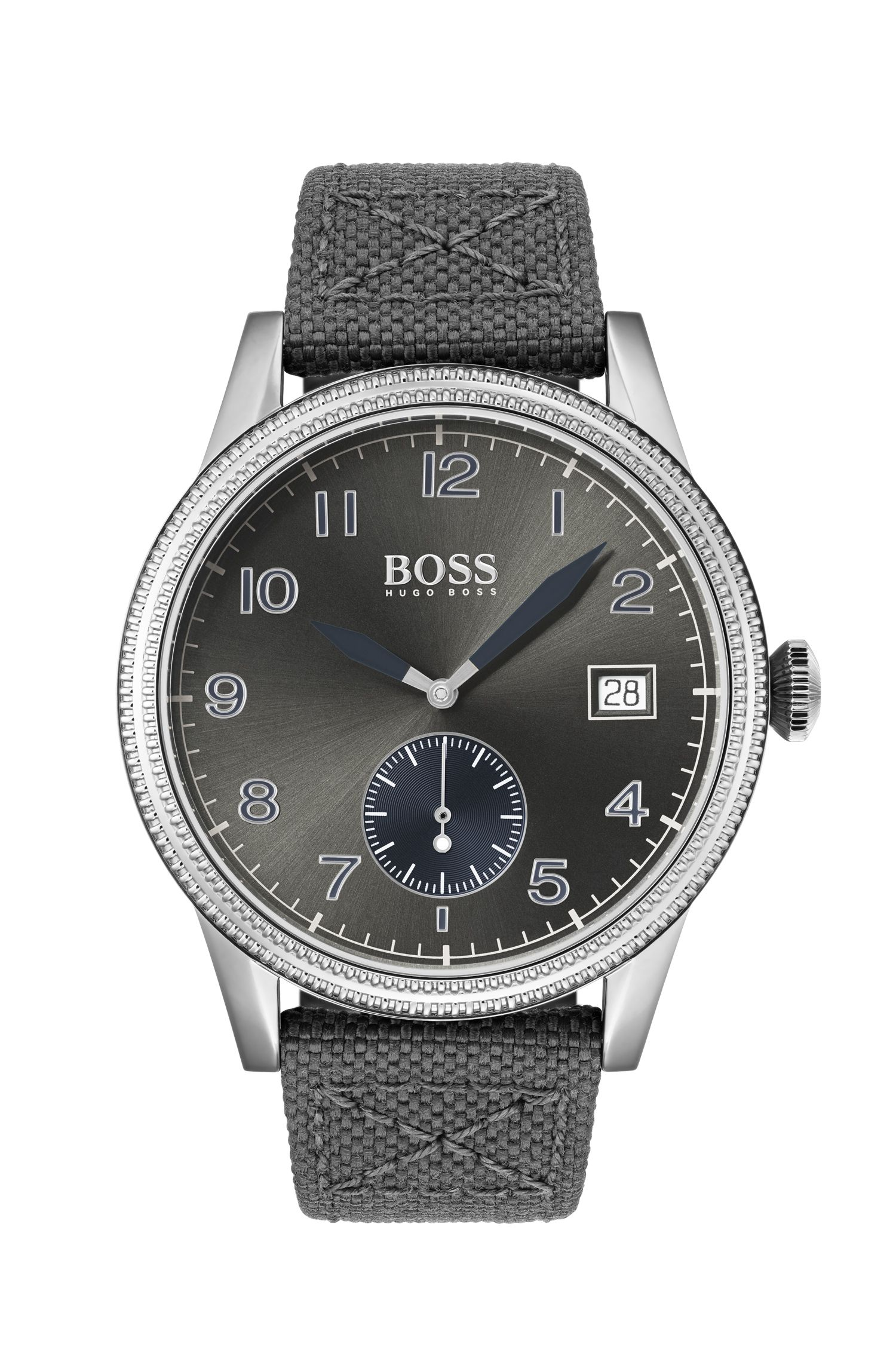 Textured-bezel watch with leather-lined woven strap, Assorted-Pre-Pack