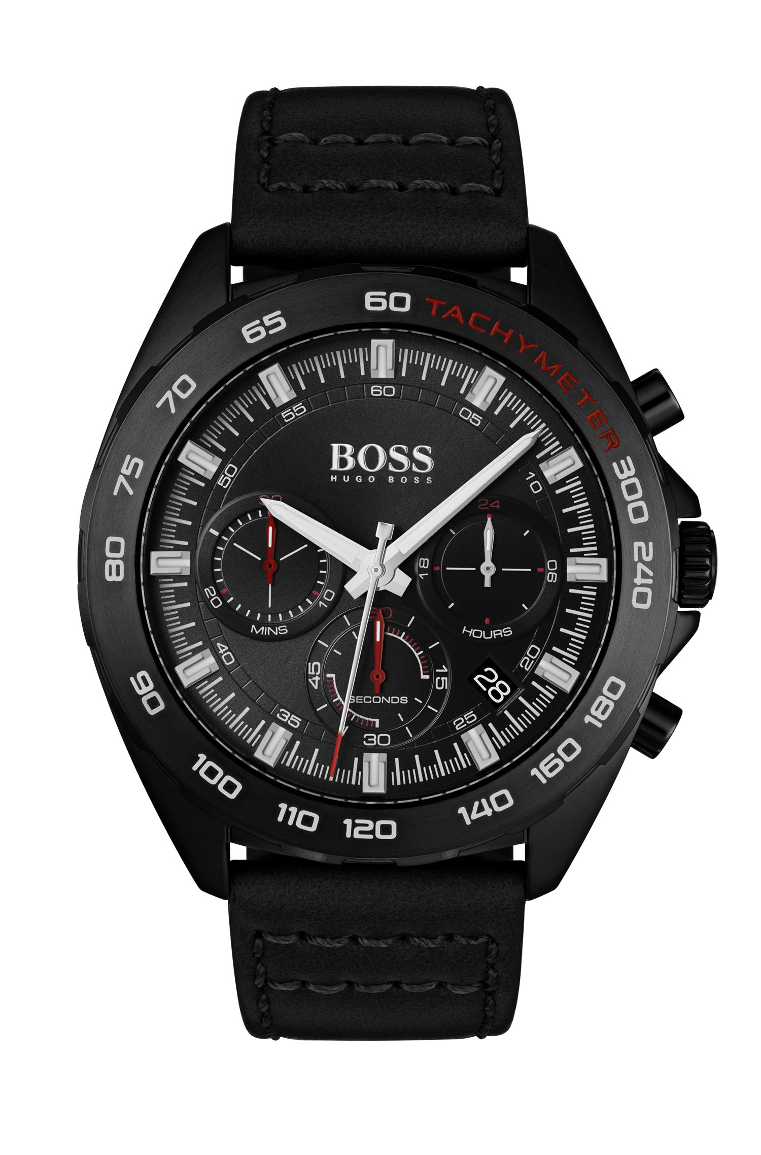 Black-plated watch with black dial and luminescent details, Assorted-Pre-Pack