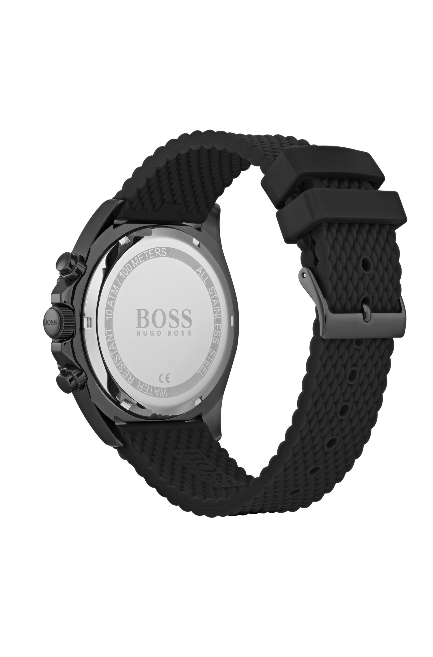 Black-plated chronograph watch with textured silicone strap, Assorted-Pre-Pack