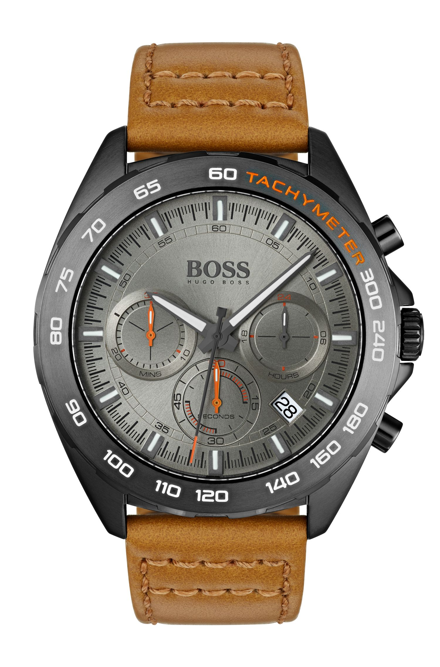 Gray-plated chronograph watch with tan leather strap, Assorted-Pre-Pack