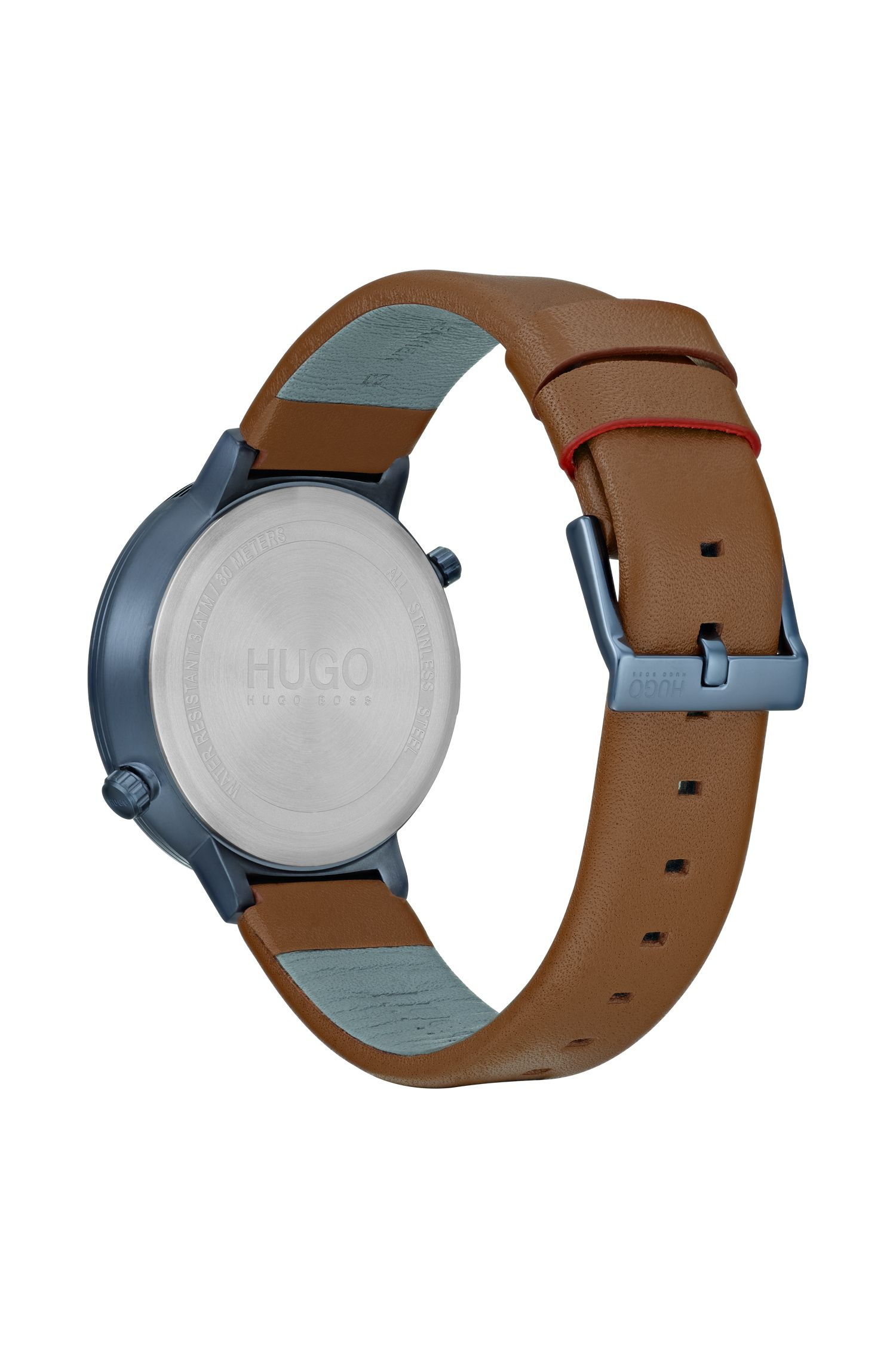 Dual-movement watch with world map dial and leather strap, Assorted-Pre-Pack