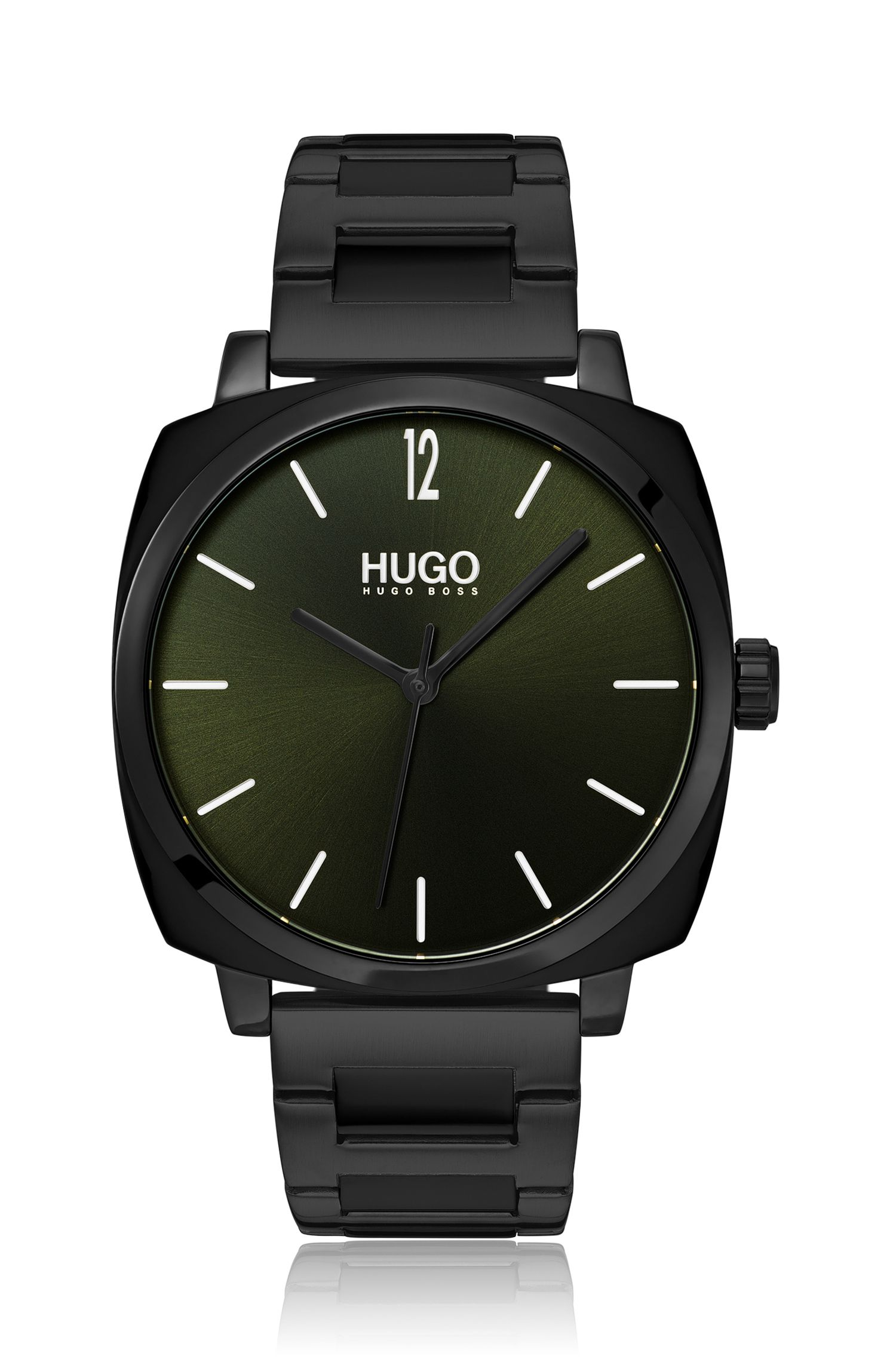 Black-plated stainless-steel cushion watch with green dial, Assorted-Pre-Pack