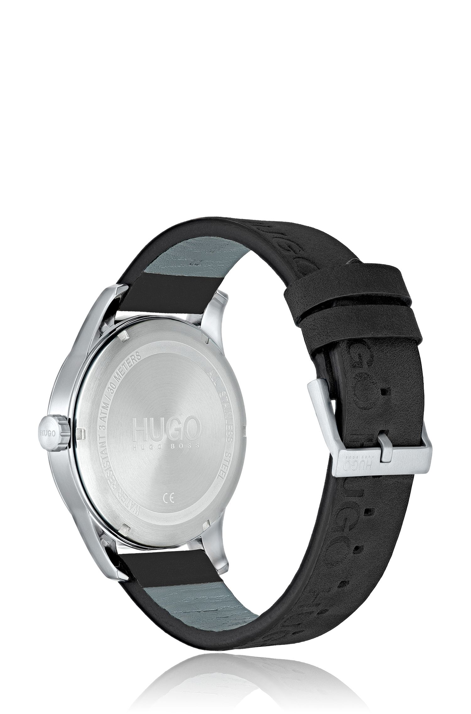 Logo-strap watch with mixed dial textures, Assorted-Pre-Pack