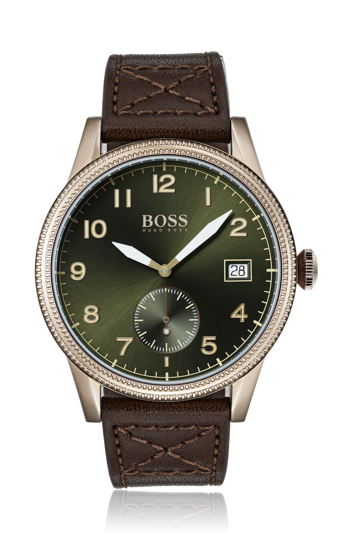 Textured-bezel watch with brown Italian leather strap, Assorted-Pre-Pack