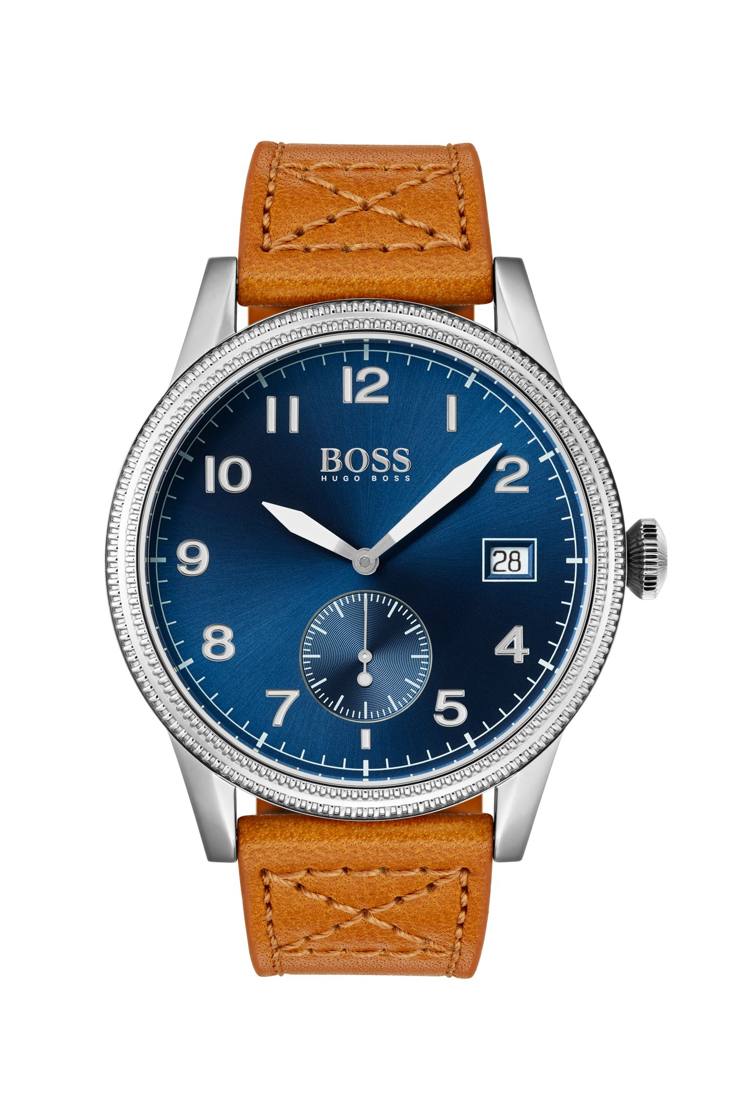 Blue-dial watch with textured bezel and tan leather strap, Assorted-Pre-Pack