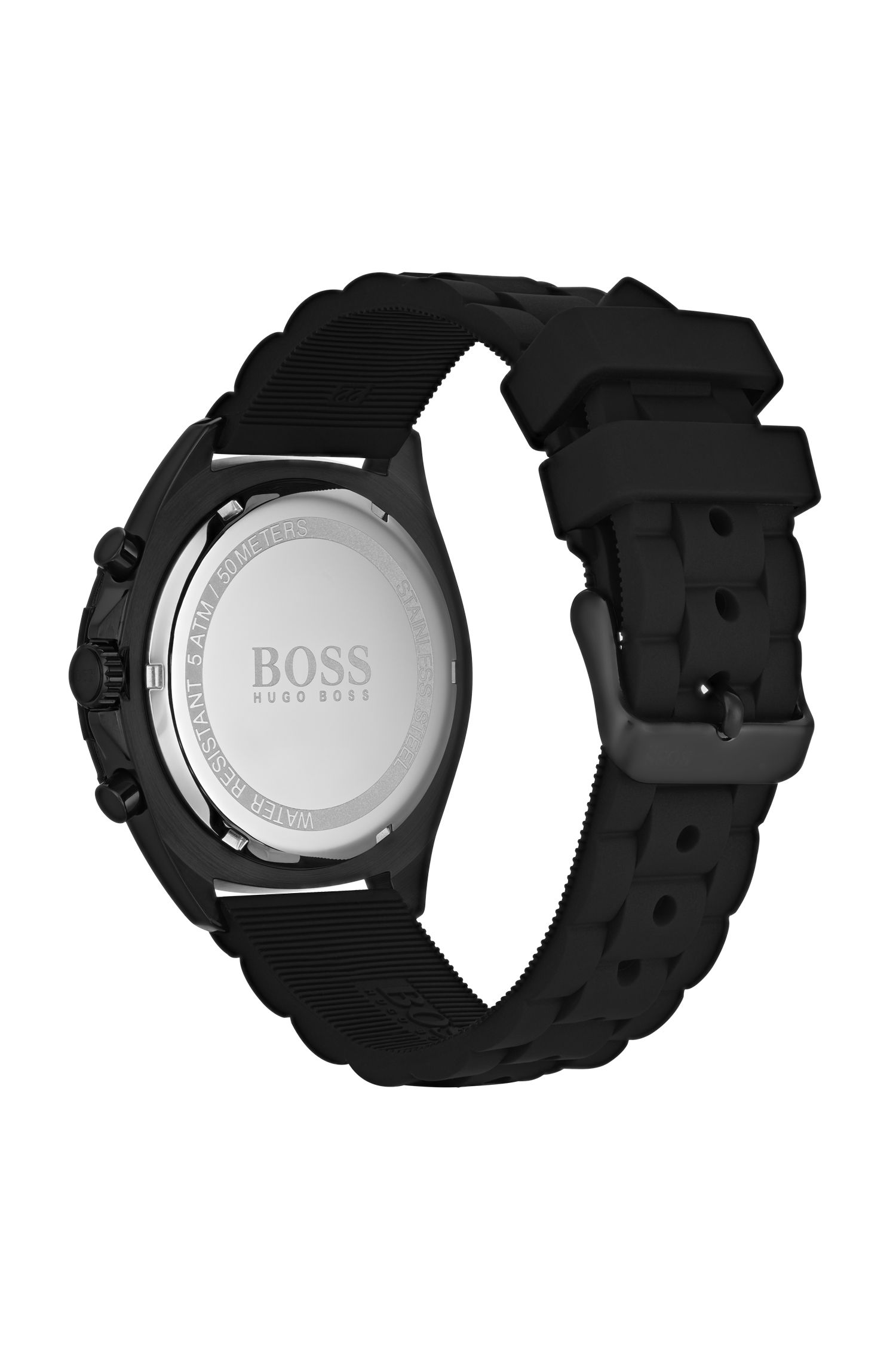 Black-plated watch with luminescent details and silicone strap, Assorted-Pre-Pack