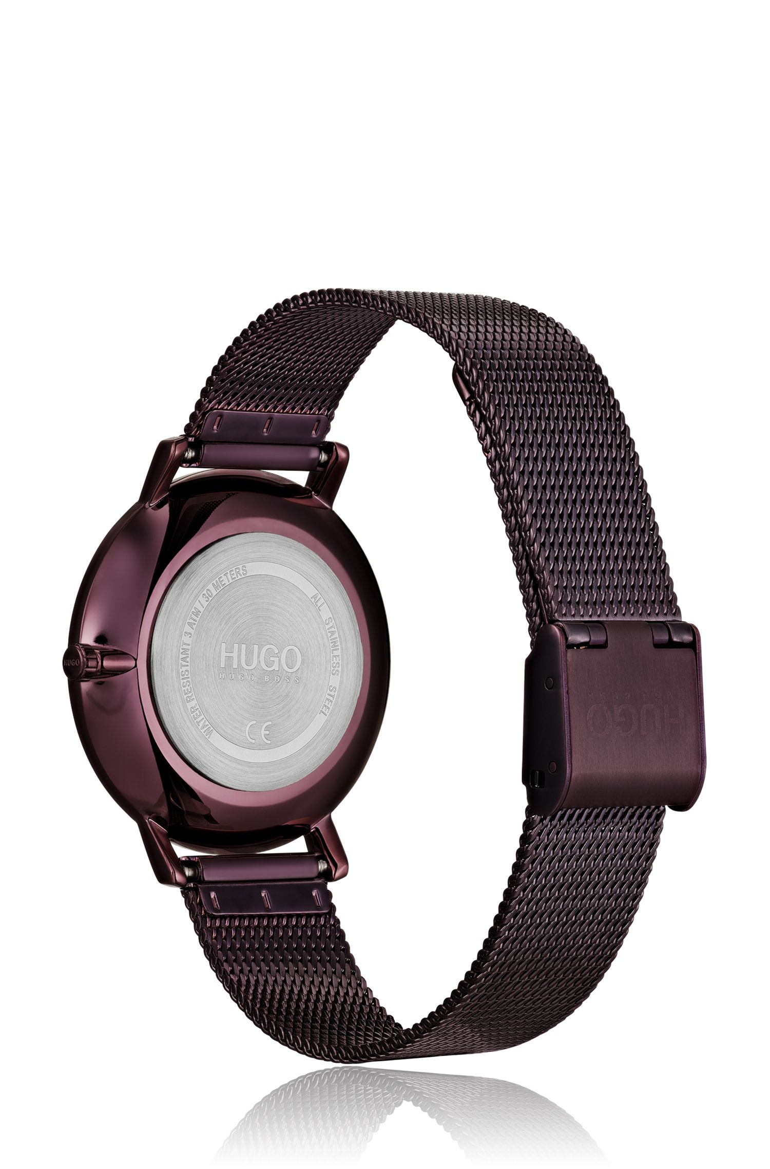 Purple-plated stainless-steel watch with mesh bracelet, Assorted-Pre-Pack