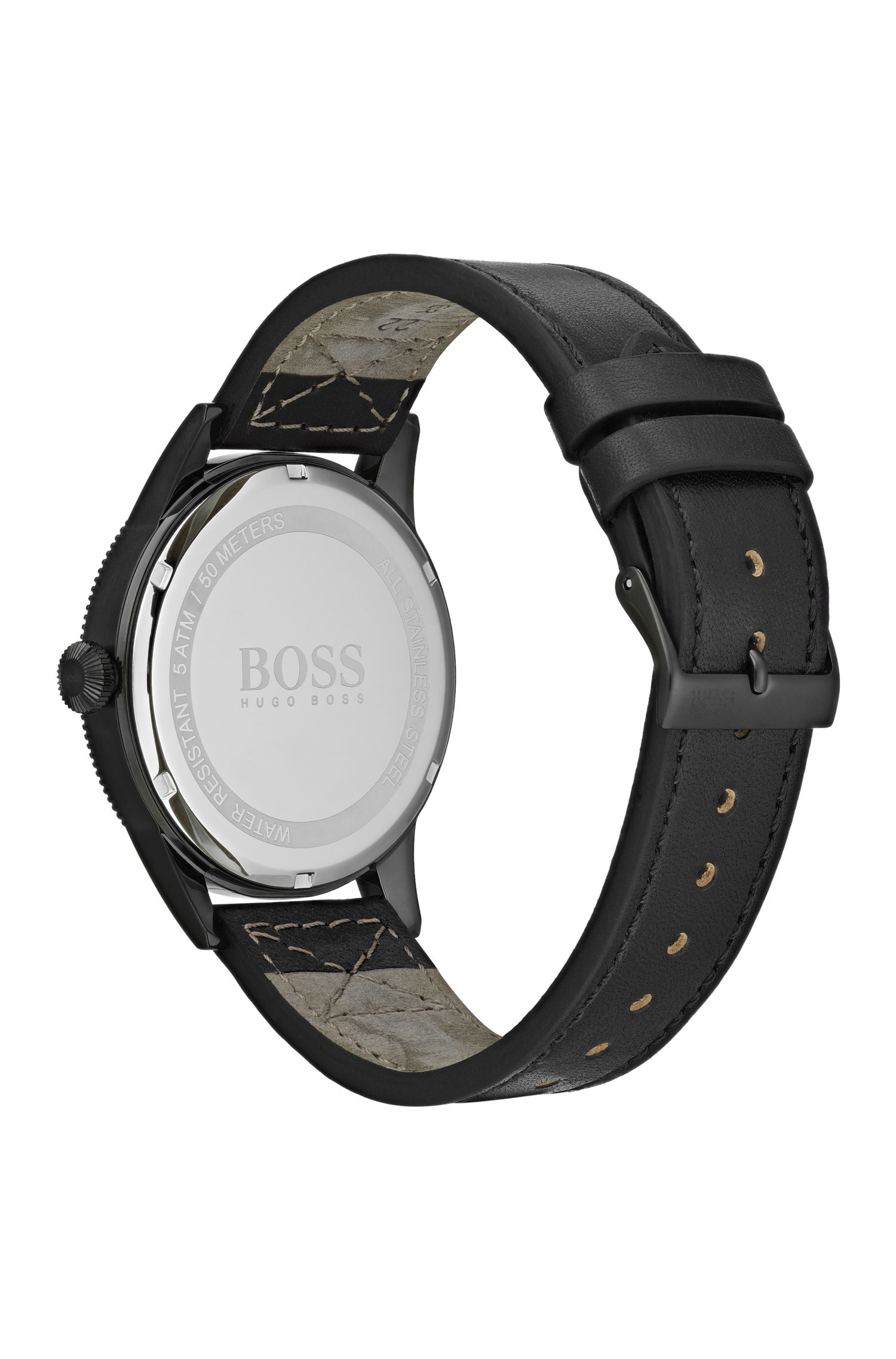 Black-plated watch with black dial and Italian-leather strap, Assorted-Pre-Pack