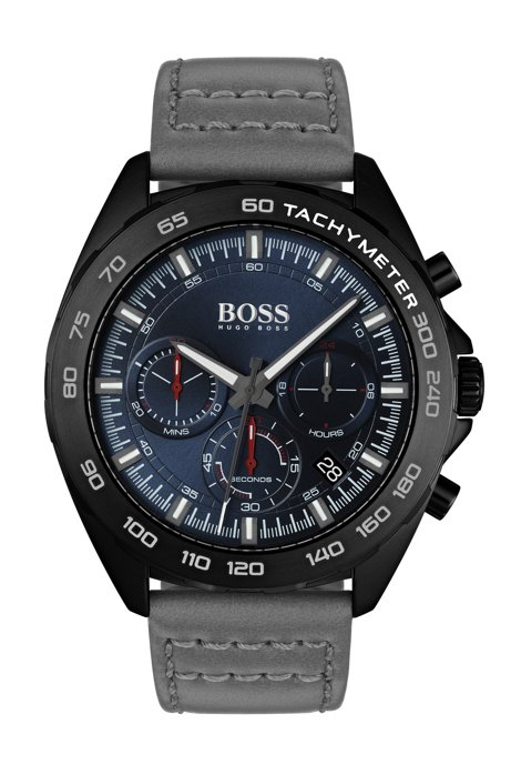 Black-plated chronograph watch with gray leather strap, Assorted-Pre-Pack