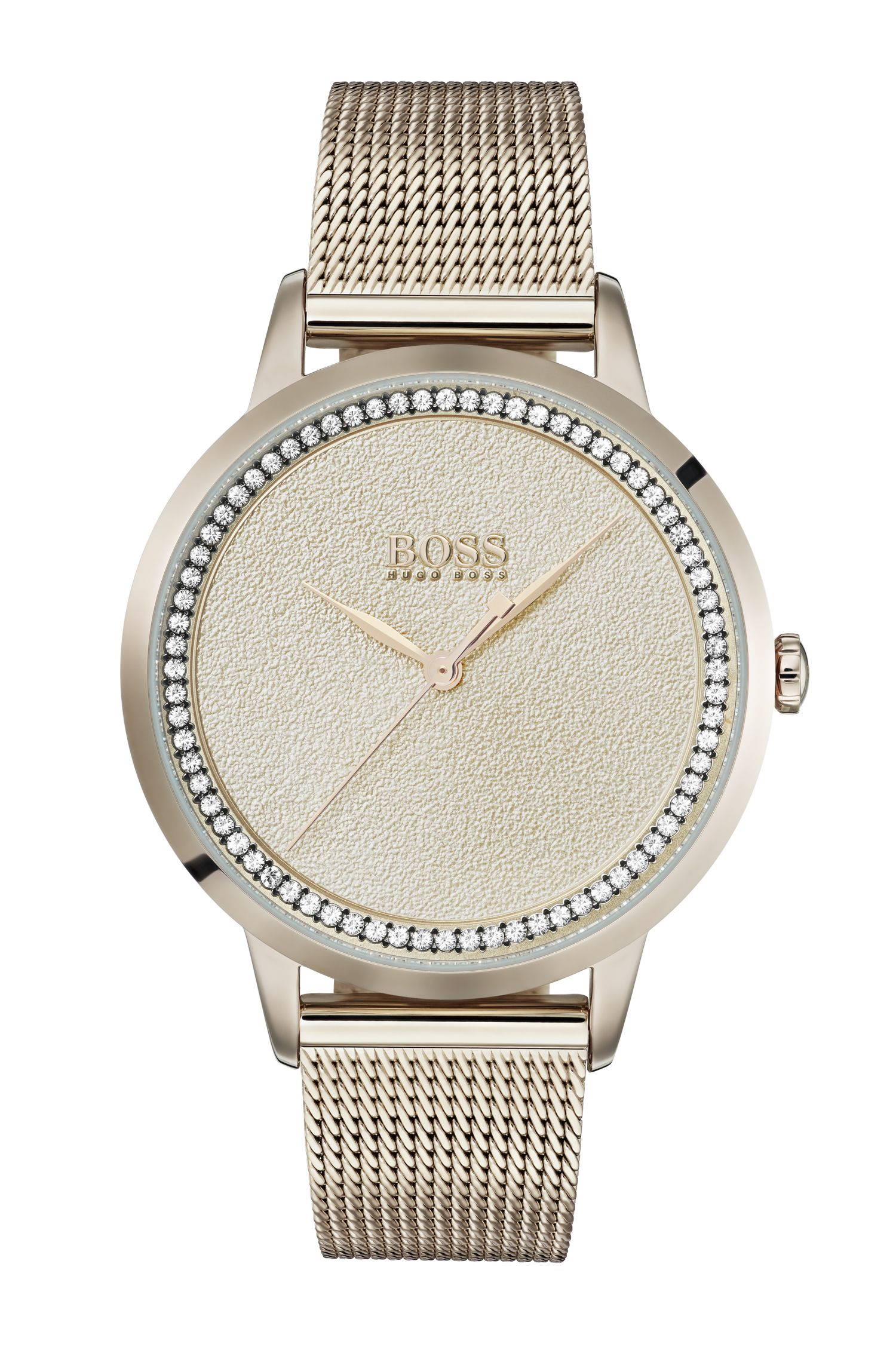 Carnation-gold-plated watch with textured dial, Assorted-Pre-Pack