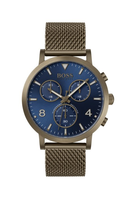 Mesh-strap watch in khaki-plated steel with blue dial, Assorted-Pre-Pack