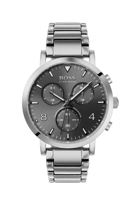 Stainless-steel chronograph watch with gray dial, Assorted-Pre-Pack