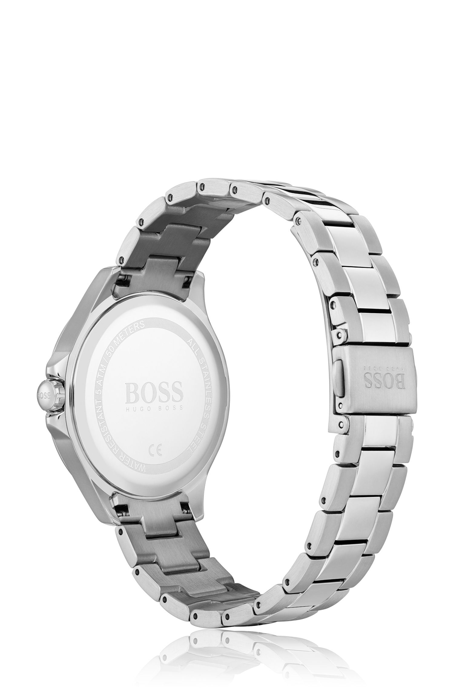Stainless-steel watch with blue mother-of-pearl dial, Assorted-Pre-Pack