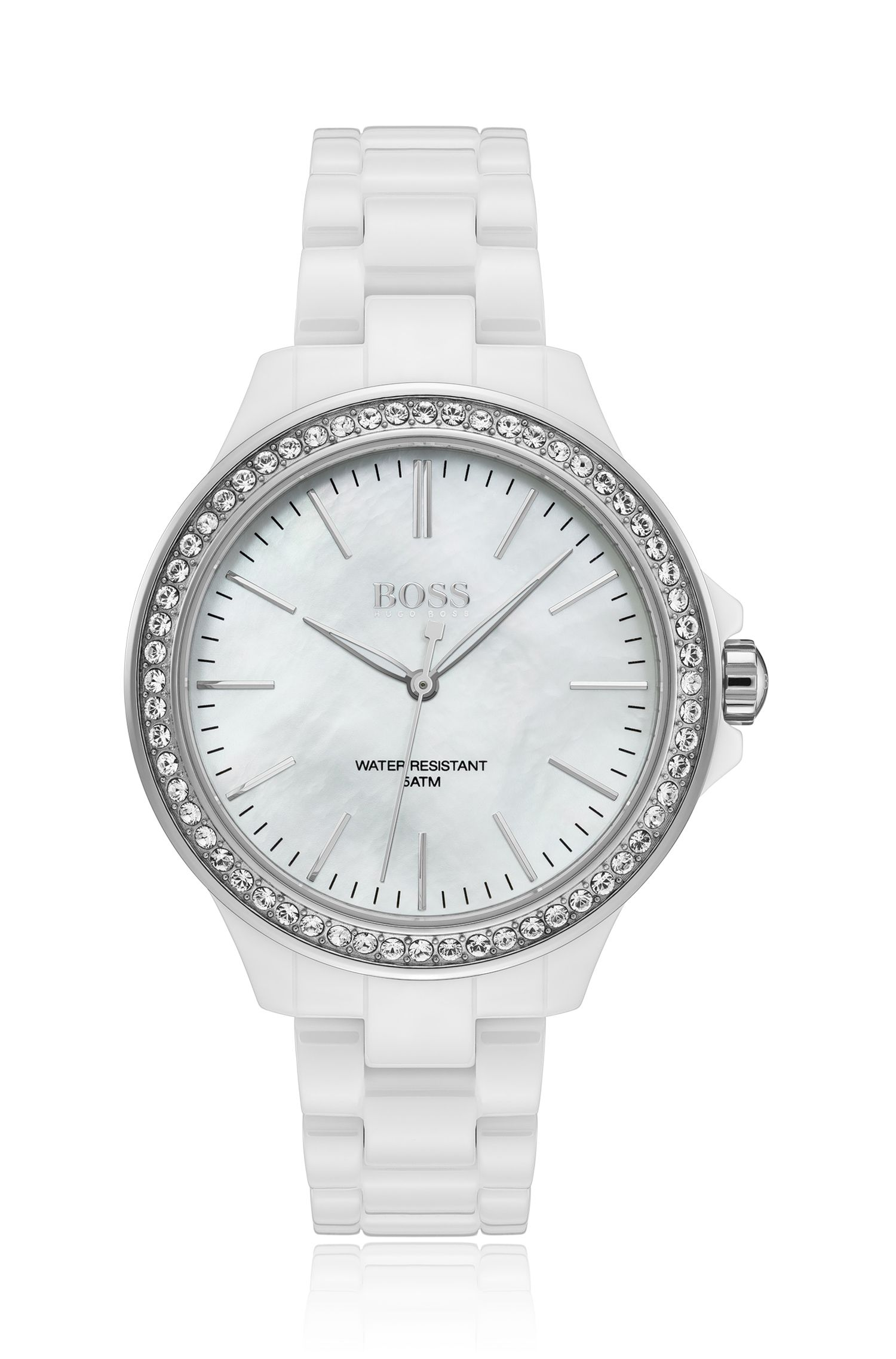 White ceramic crystal-trimmed watch with mother-of-pearl dial, Assorted-Pre-Pack