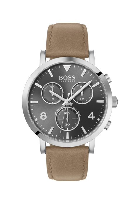 Leather-strap chronograph watch in stainless-steel with gray dial, Assorted-Pre-Pack