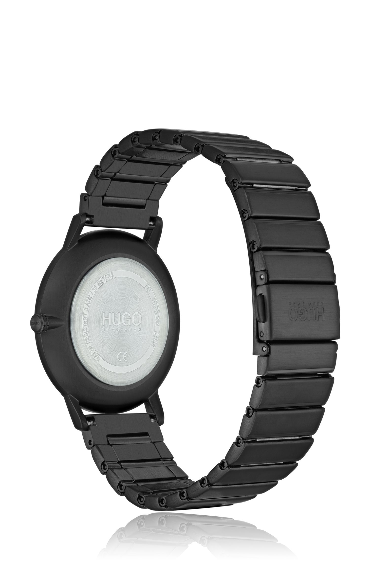 Black-plated watch with link strap, Assorted-Pre-Pack
