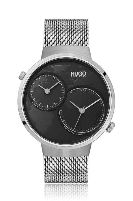 Dual-movement stainless-steel watch with map motif, Assorted-Pre-Pack