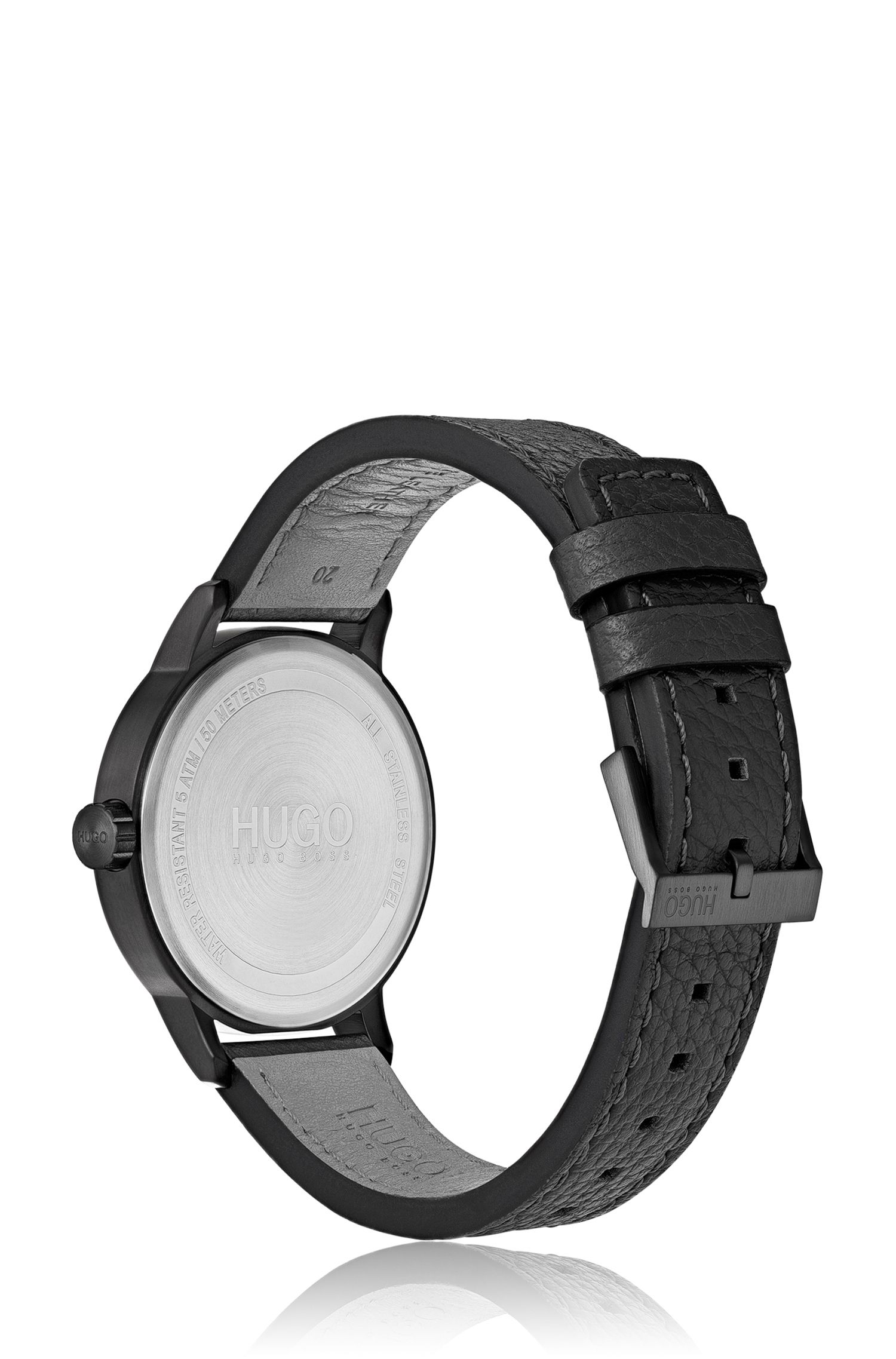 Black-plated watch with vertically brushed dial, Assorted-Pre-Pack