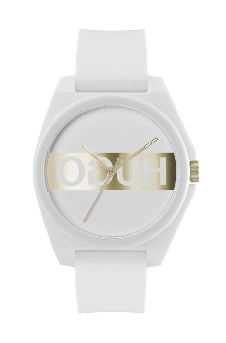 White silicone-strap watch with golden reversed logo, Assorted-Pre-Pack