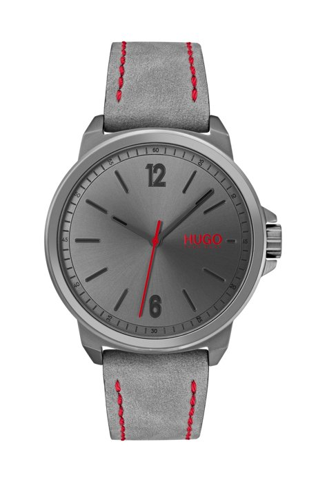 Gray-plated stainless-steel watch with stitched nubuck strap, Assorted-Pre-Pack