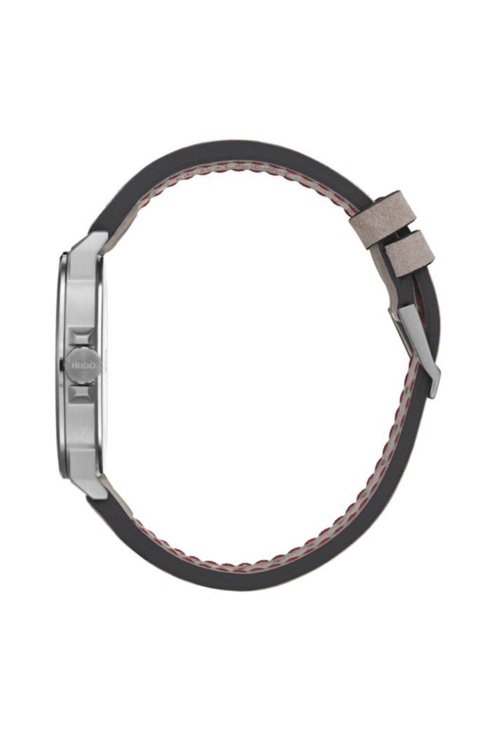 Gray-plated stainless-steel watch with stitched nubuck strap