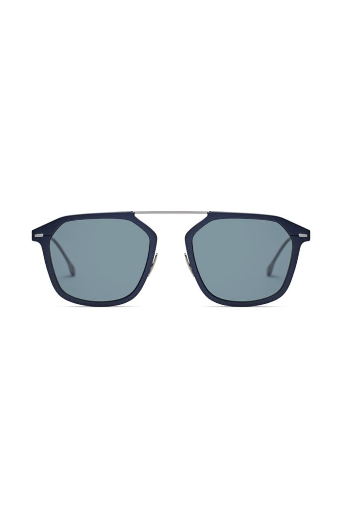 Blue-frame sunglasses with HD polarised lenses