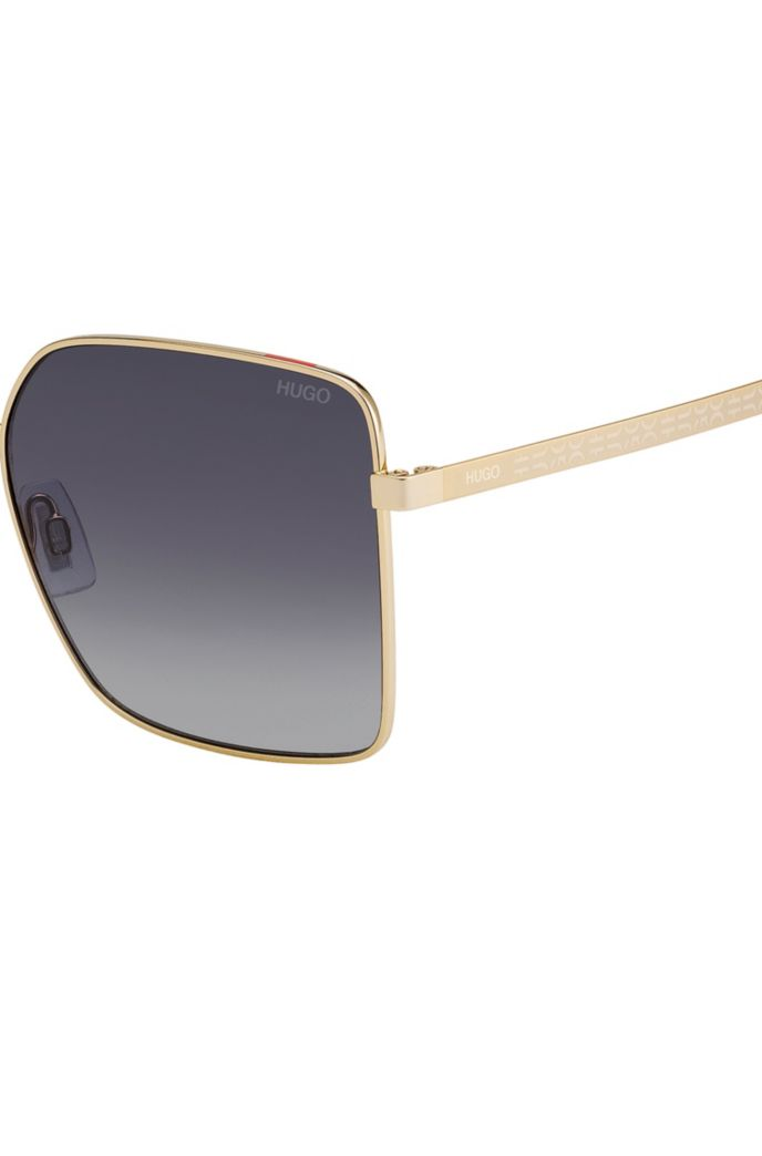 Gradient-lens sunglasses with cropped-logo temples