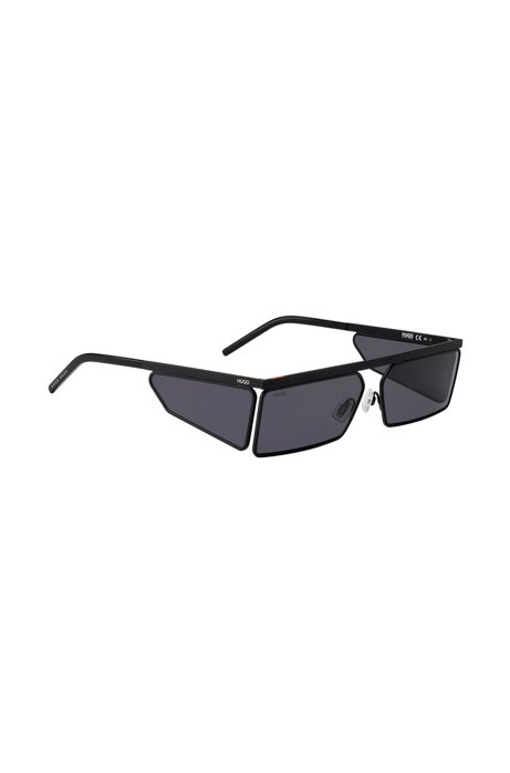 Rectangular sunglasses in black with tonal spoilers, Assorted-Pre-Pack
