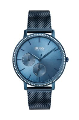 Blue-plated watch with Swarovski® crystals and mesh bracelet, Assorted-Pre-Pack
