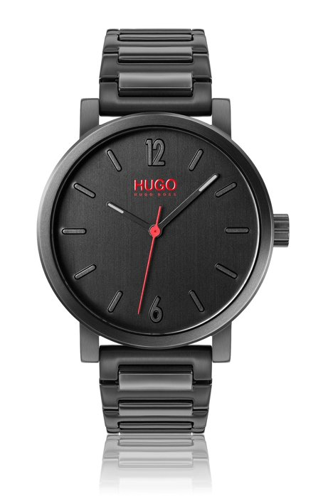 Black-plated watch with black dial and link strap, Assorted-Pre-Pack