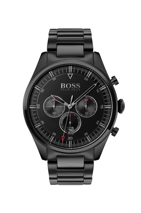 Black-plated chronograph watch with black dial, Assorted-Pre-Pack