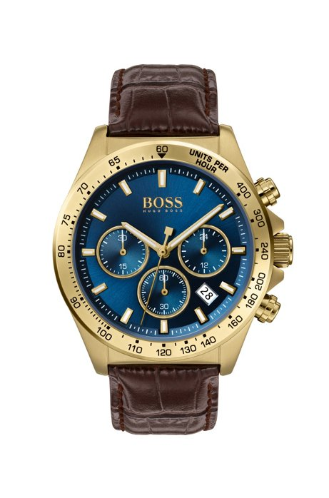Yellow-gold-plated chronograph watch with blue dial, Assorted-Pre-Pack