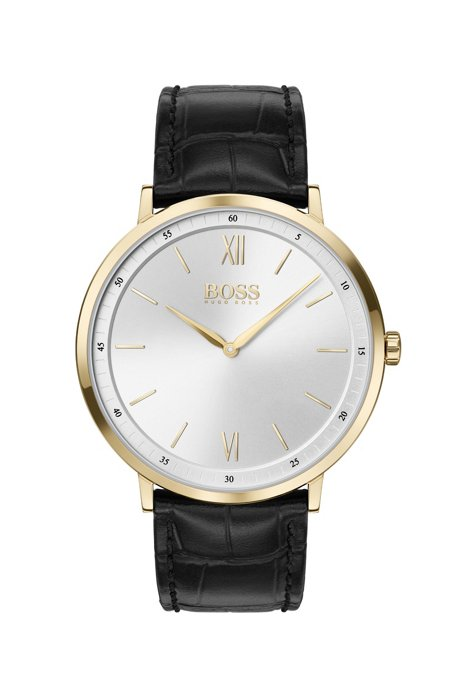 Gold-plated watch with crocodile-embossed leather strap, Assorted-Pre-Pack