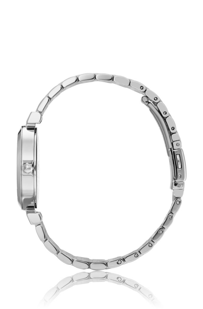 Swarovski® crystal-encrusted watch with silver finish