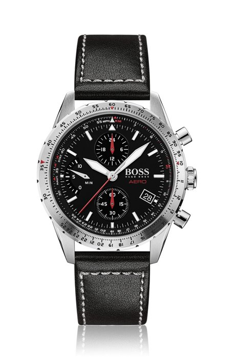 Chronograph watch with Italian leather strap, Assorted-Pre-Pack