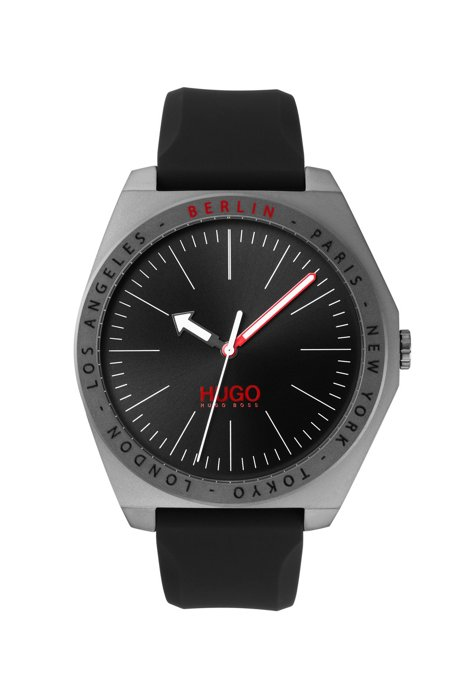 Matte-grey-plated watch with engraved city names, Assorted-Pre-Pack