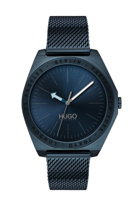 Matte-blue-plated watch with engraved city names, Assorted-Pre-Pack