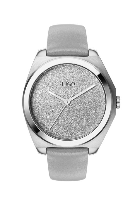Three-hand watch with textured dial and gray leather strap, Assorted-Pre-Pack