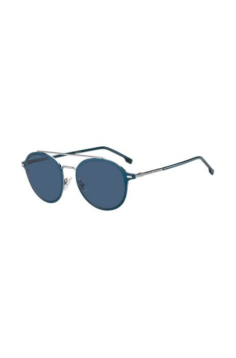 Blue acetate sunglasses with silver-effect double bridge, Assorted-Pre-Pack