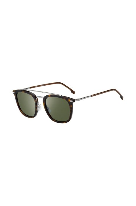 Havana-acetate sunglasses with green lenses, Assorted-Pre-Pack