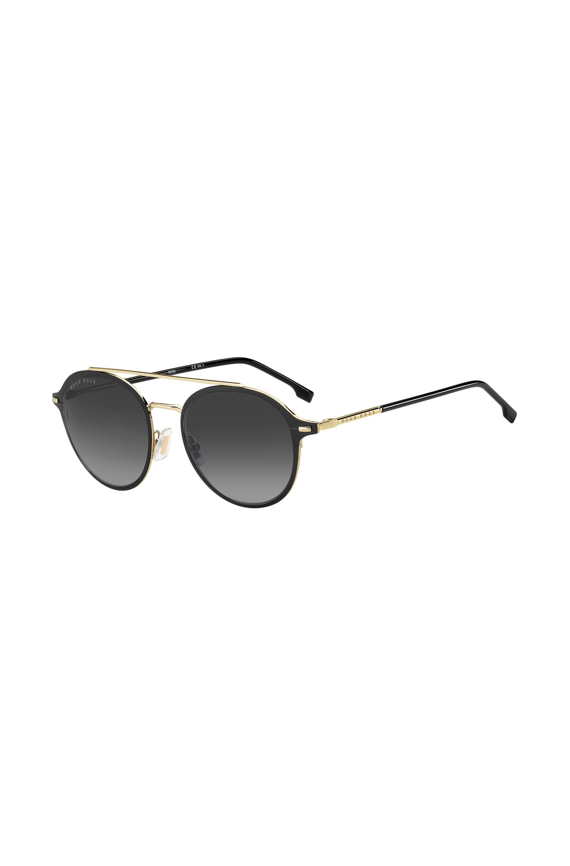 Black acetate sunglasses with gold-effect double bridge, Assorted-Pre-Pack