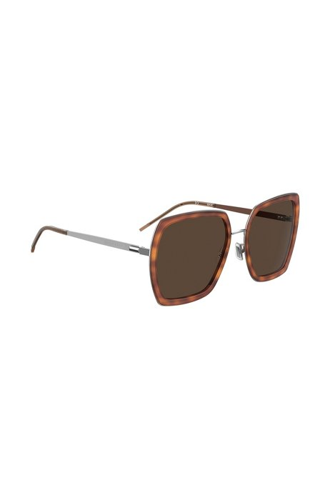 Angular sunglasses with Havana frames and signature hardware, Assorted-Pre-Pack