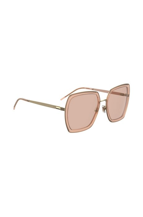 Angular sunglasses in mixed materials with signature hardware, Assorted-Pre-Pack