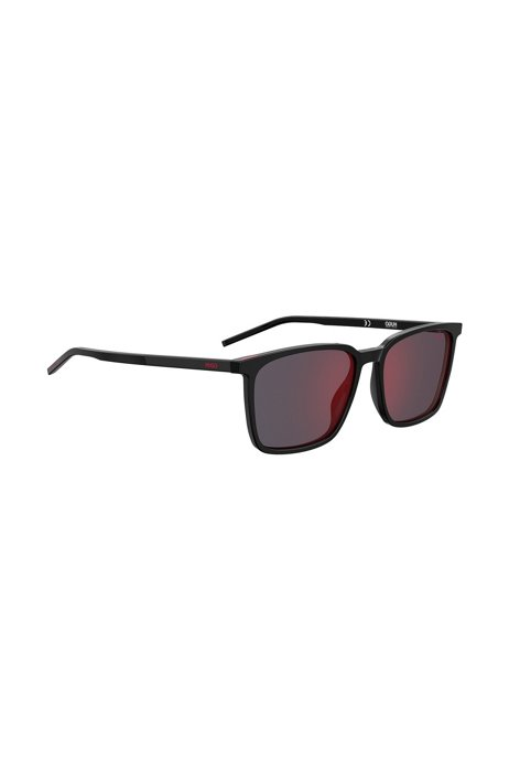 Square sunglasses in black acetate with red lenses, Assorted-Pre-Pack