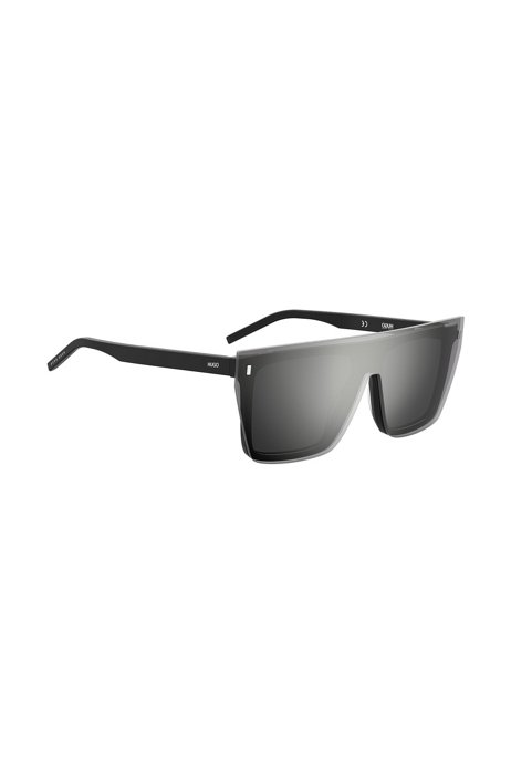 Black-acetate sunglasses with silver mirrored clip-on, Assorted-Pre-Pack