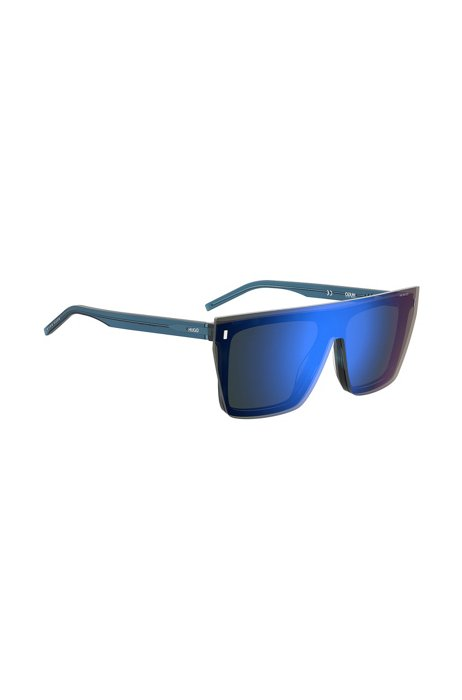 Blue-Havana sunglasses with blue mirrored clip-on, Assorted-Pre-Pack