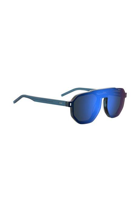 Blue-Havana double-bridge sunglasses with clip-on, Assorted-Pre-Pack