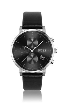Stainless-steel watch with black dial and leather strap, Assorted-Pre-Pack
