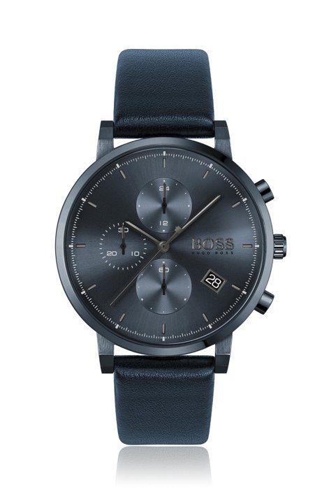 Blue-plated chronograph watch with tonal leather strap, Assorted-Pre-Pack